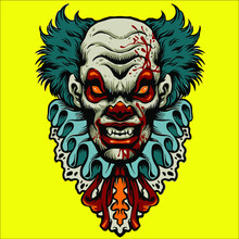 Skull Clown With A Tattoo  Vector