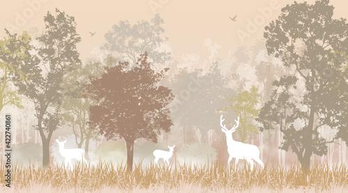 Obraz Wallpaper, mural, fresco. Brown forest with deer. - fototapety do salonu