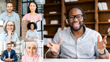 Online Job Interview Concept. Video Call Screen With A Smiling African-American Job Applicant Introducing Himself, Diverse Hr Representatives Listening. Video Conference Of Multi Ethnic Employees