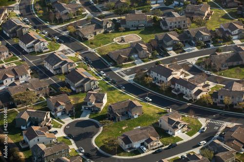 Daytime aerial view of a residential neighborhood in Oceanside, California, USA Wallpaper Mural