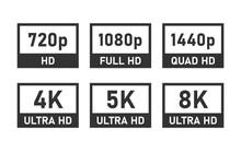 Display Resolution Icons, 4K UHD, 8K, Quad HD, Full HD And HD Screen Resolution