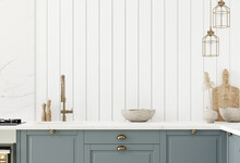 Wall Mock Up In Kitchen Interior Background, Farmhouse Style, 3d Render