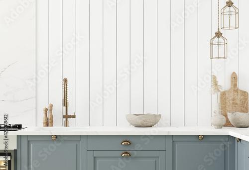Fototapeta Wall mock up in kitchen interior background, Farmhouse style, 3d render