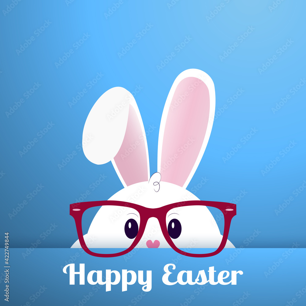 Fototapeta White Easter bunny with glasses on a blue background - Vector