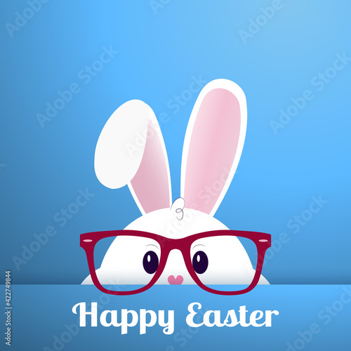 Obraz White Easter bunny with glasses on a blue background - Vector - fototapety do salonu