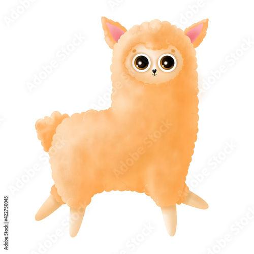 Fototapeta premium Cute orange llama isolated on white background. Funny cartoon llama, alpaca.