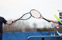 Tennis Racquet Bumping Displays Sportsmanship After A Match Is Over