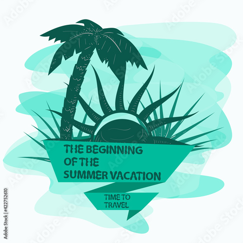 icon sticker for creating a design on the theme of recreation vacation and travel Tree palm tree and sun with a flag inscription slogan background can be removed