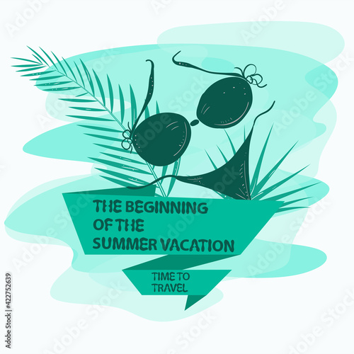 icon sticker for design design on the theme of leisure vacation and travel Women's swimsuit bikini with palm leaves with a flag an inscription a slogan the background can be removed