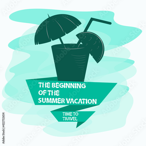 icon sticker for design design on the theme of recreation vacation and travel a glass with a drink inside an umbrella and a slice of fruit and a flag with an inscription slogan