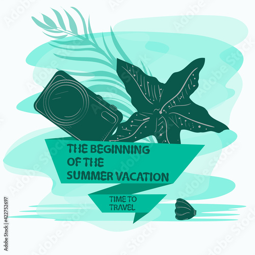 icon sticker for design design on the theme of recreation vacation and travel Starfish and a camera with a flag an inscription a slogan the background can be removed