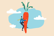 Motivation And Incentive To Motivate Employee, Reward Or Trick To Influence People Or Manipulation Concept, Seduced Businessman Jump In The Air To Catch Tempting Carrot Baiting Lure From The Stick.