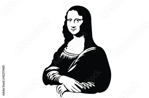 Tablou Canvas Mona Lisa silhouette graphic.For your design .Vector EPS10.