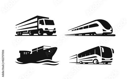 Four transport vehicles. Ship, truck, bus, train
