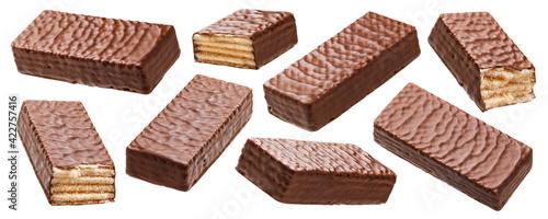 Waffle chocolate bar isolated on white background Fotobehang