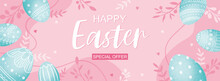 Easter Poster And Banner Template With Easter Eggs On Pink Background.