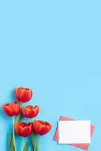 Design Concept Of Mother's Day Holiday Greeting Gift With Red Tulip Bouquet On Bright Blue Table Background