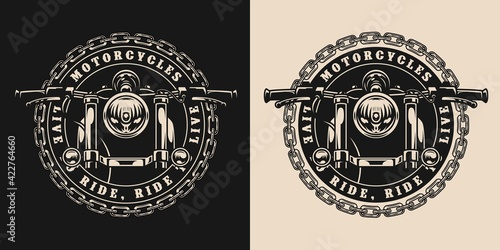 Foto Custom motorcycle round vintage badge