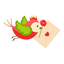 A Bright Cartoon Bird Carries A Letter Heart And A Red Flower In Its Beak. The Concept Of Pleasant News, Valentines. A Symbol Of Love. Color Vector Illustration. Isolated On A White Background.