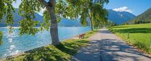 Lake Shore Panorama Buchau, Tourist Destination Achensee, Summer Landscape Tirol