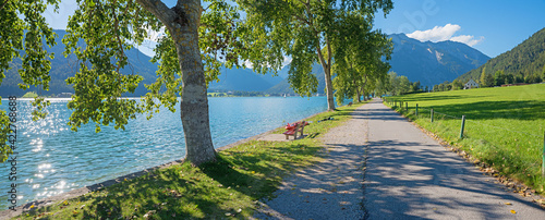 Billede på lærred lake shore panorama Buchau, tourist destination Achensee, summer landscape tirol