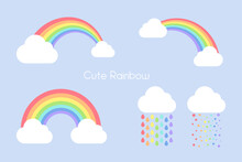 Clouds In The Sky With A Colorful Rainbow Across A Bridge. With Raindrops Falling In Rainbow Colors
