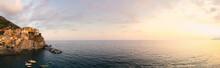 Sunset In Cinque Terre, Italy. Beautiful Panorama