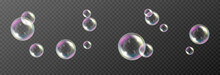 Vector Soap Bubble. Realistic Soap Bubble Png, Glare. Foam Bubbles Png. Powder, Soap, Detergent. Vector Image.