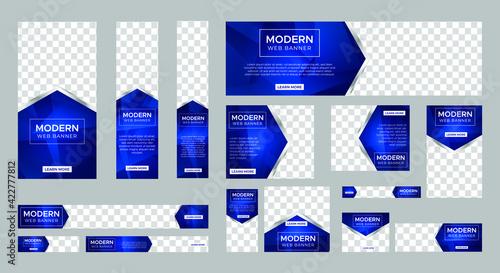Fototapeta set of modern web banners of standard size with a place for photos. Vertical, horizontal and square template. vector illustration EPS 10 obraz