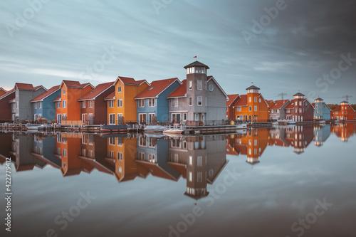 Fototapeta Colourful houses of Reitdiephaven in Groningen, the Netherlands. obraz