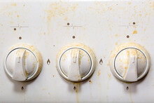 The Rotary Valve For Turning On The Gas In The Kitchen Is Dirty From Grease.