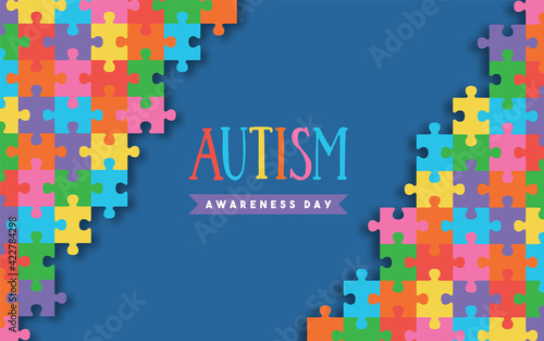 Obraz Autism awareness day colorful paper cut puzzle - fototapety do salonu
