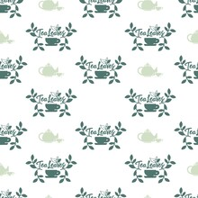 Sip The Green Tea Vector Graphic Silhouette Seamless Pattern