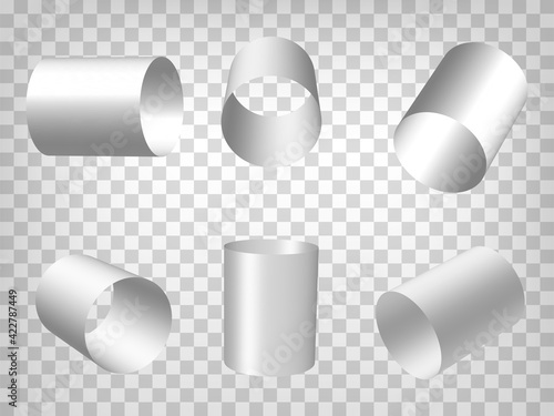 Set of perspective projections 3d pipes model icons on transparent background. 3d hollow cylinders. Abstract concept of graphic elements for your web site design, app, UI. EPS 10