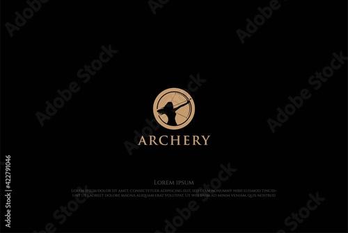 Vintage Woman Archer for Archery Sport Club Logo Design Vector Fototapet