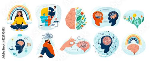 Photo Mental health set vector background