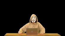 Anonymous Kid In A Fawkes Mask Using Laptop Alpha Channel