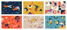 People Flying In Abstract Imaginary Space Organizing Geometric Shapes. Teamwork Concept Scenes Set
