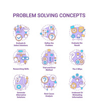 Problem Solving Concept Icons Set. Evaluate And Select Solution. Researching Skills. Creative Thinking Idea Thin Line RGB Color Illustrations. Vector Isolated Outline Drawings. Editable Stroke