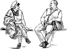 Sketch Of Couple Elderly Spouses Sitting On Park Bench And Looking At Each Other