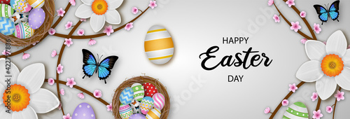 Obraz easter egg Happy Easter background with Easter eggs. Easter card. Place for your text. Vector illustration. - fototapety do salonu