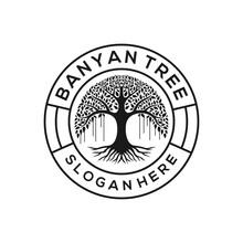 Retro Vintage Banyan Tree Logo Design Emblem