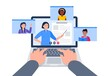 Video call with teacher and classmates. Using a laptop for education during an epidemic. Vector flat illustration.