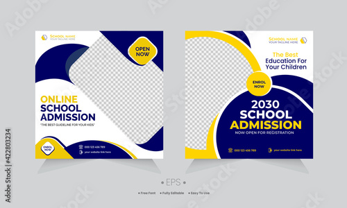 Fototapeta Creative online school education social media post template & kids school admission editable design obraz