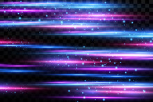 Motion Light Effect For Banners. Blue Lines. The Effect Of Speed On A Blue Background. Red Lines Of Light, Speed And Movement. Vector Lens Flare.
