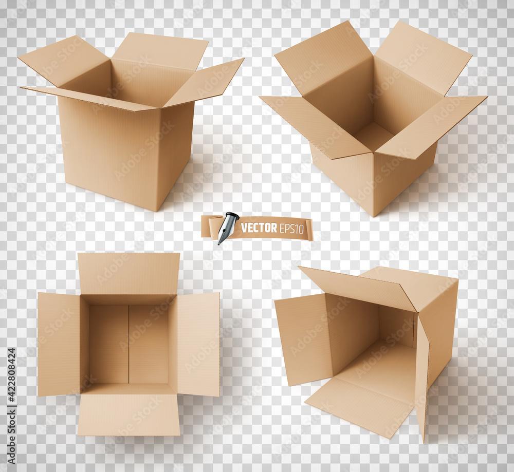 Fototapeta Boîtes en carton vectorielles sur fond transparent
