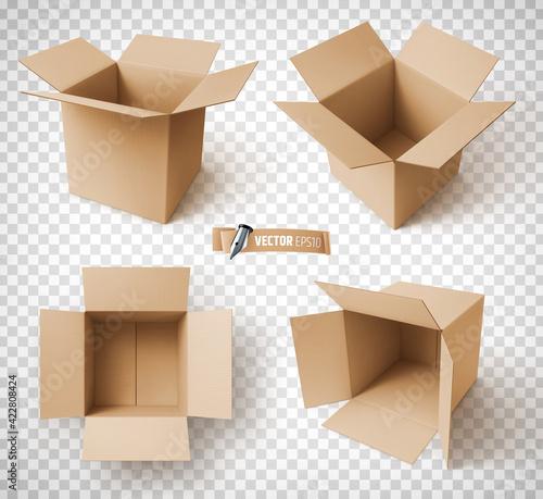 Obraz Boîtes en carton vectorielles sur fond transparent - fototapety do salonu