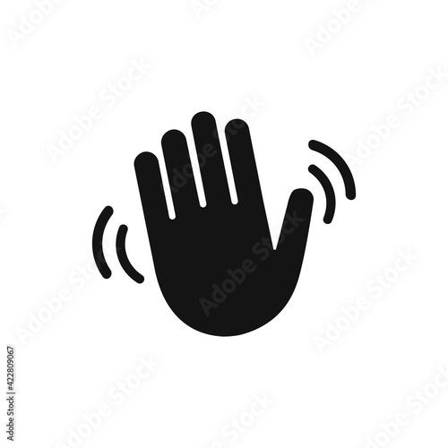Leinwand Poster Hand wave waving hi or hello vector icon