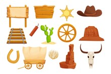 Wild West, Western Collection In Cartoon Style Isolated On White Background. Retro Wagon, Scull On Wooden Banner Cowboy Hat With Star, Arizona Dessert Stone, Wheel And Cactus.