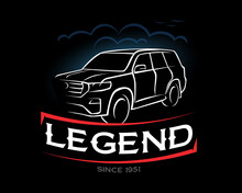 Legend T-shirt, Since 1951. Toyota, Land Cruiser 200 Vintage Art. Offroad SUV Car, , Hand Drawn Sketch, Retro Badge, Typography Design T-shirt Print, Vector Illustration .